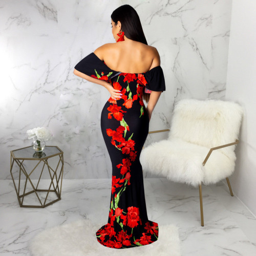 Red Sexy print one neck bra dress