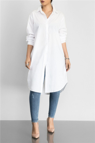 White Fashion medium length solid color versatile shirt