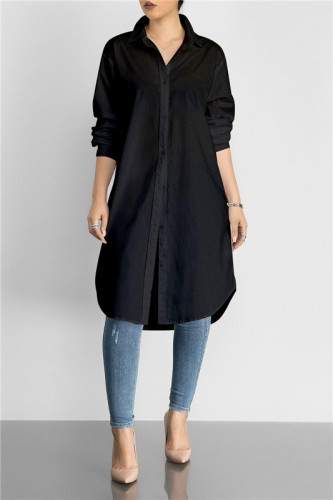 Black Fashion medium length solid color versatile shirt