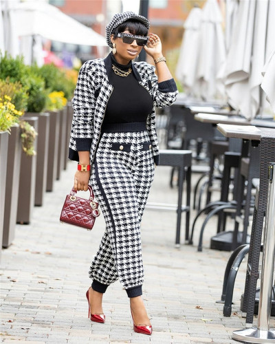 Fashion casual long-sleeved houndstooth two-piece suit