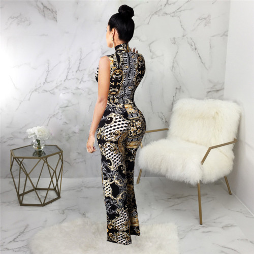 Sexy fashion print women's sleeveless Jumpsuit