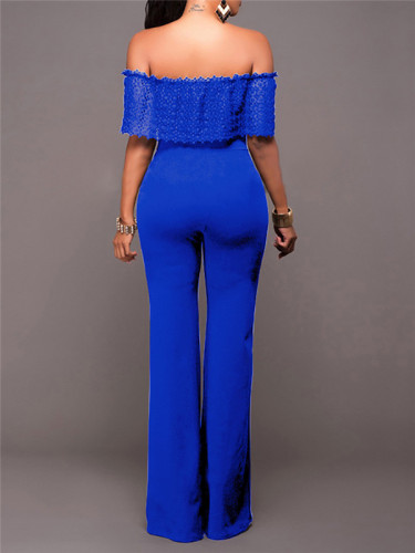 Blue Fashionable loose casual one-piece pants with side zipper
