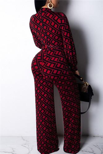 Claret Sexy fashion print wide leg Jumpsuit