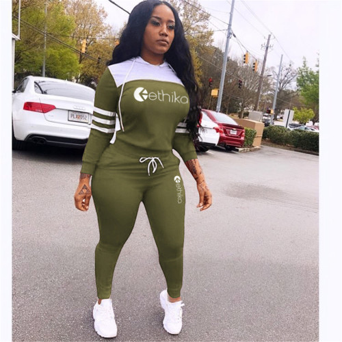 Green Casual Letter Print Hoodie Long Sleeve Two Piece Set