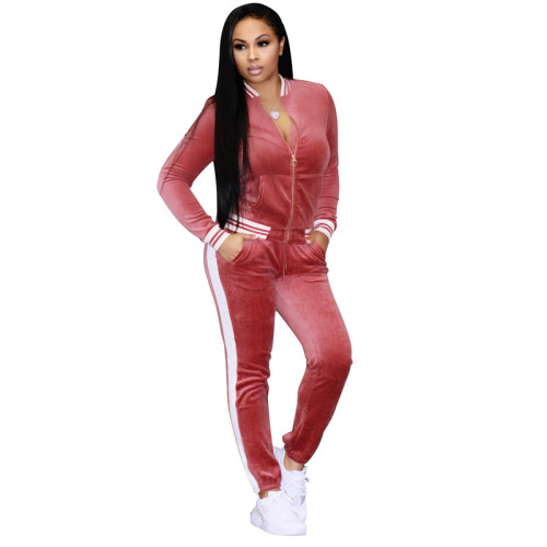 Pink Sexy fashion leisure tight leg sports suit two piece set