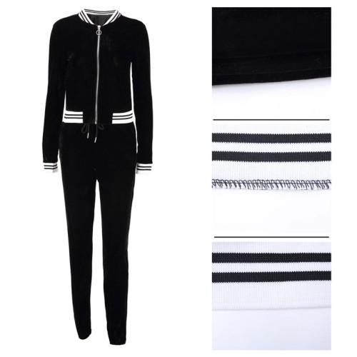 Black Sexy fashion leisure tight leg sports suit two piece set