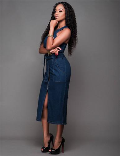 Blue Sexy fashion sleeveless denim slim dress