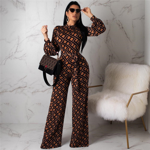 Brown Sexy fashion print wide leg Jumpsuit