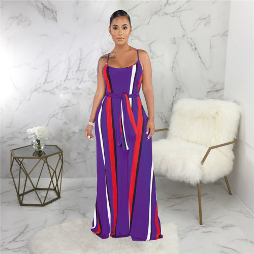 Purple Sexy and fashionable summer loose sleeveless dress