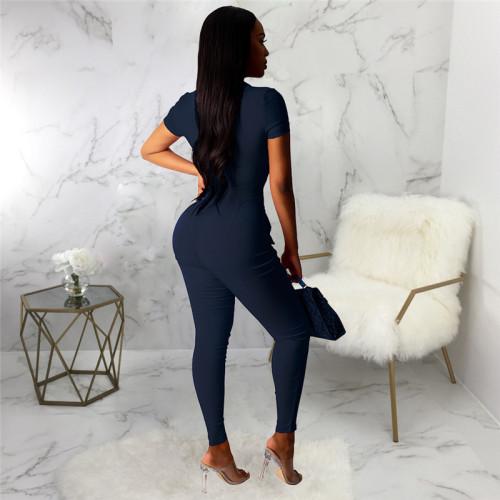 Dark Blue Sexy fashion Super Stretch women's slim Jumpsuit