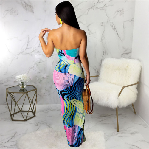 Sexy print fashion wind wrapped chest dress