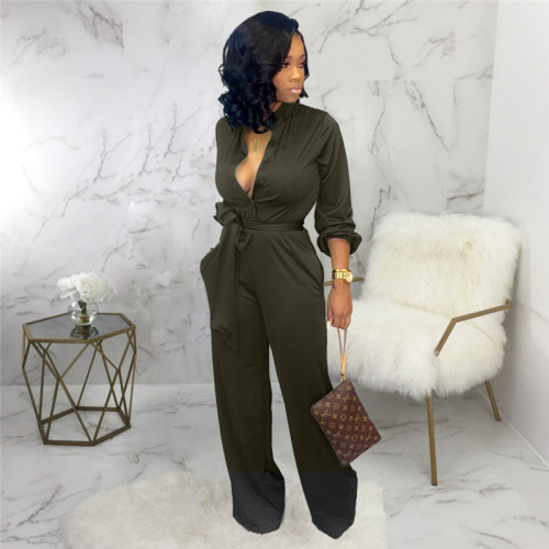 Dark Green Sexy and fashionable autumn and winter loose women's Jumpsuit