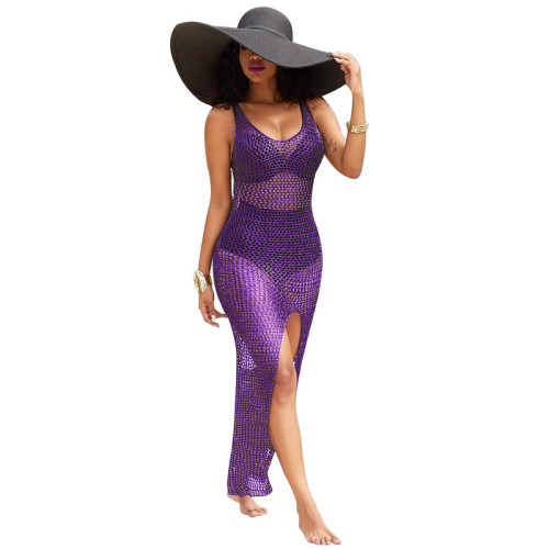 Purple Cut out blouse long skirt hip cashew bikini swimsuit jacket