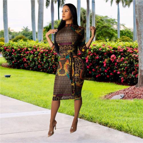 Brown Fashion slim sexy dress