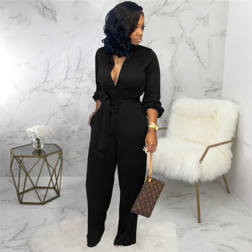 Black Sexy and fashionable autumn and winter loose women's Jumpsuit
