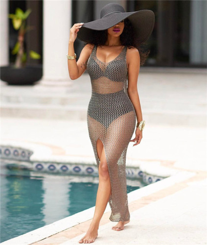 Gray Cut out blouse long skirt hip cashew bikini swimsuit jacket
