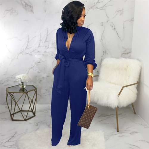 Blue Sexy and fashionable autumn and winter loose women's Jumpsuit