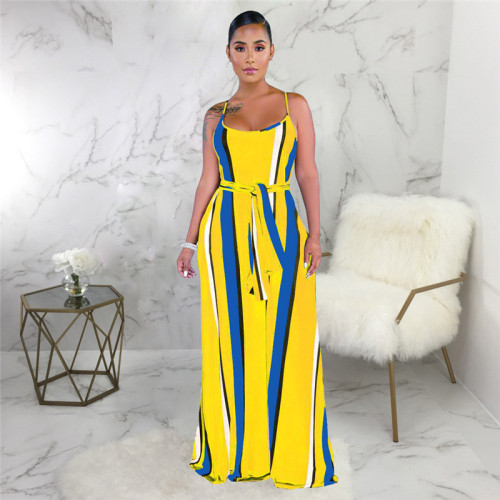 Yellow Sexy and fashionable summer loose sleeveless dress