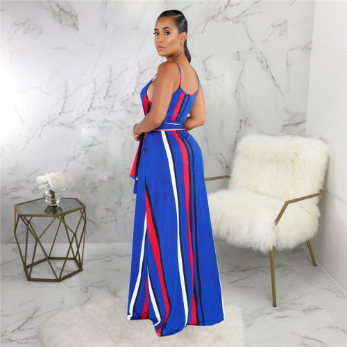 Blue Sexy and fashionable summer loose sleeveless dress