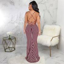 Claret Sexy fashion summer bandage open back dress