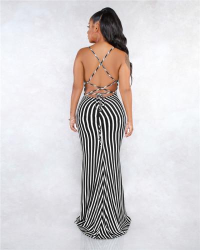 Black Sexy fashion summer bandage open back dress