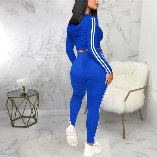 Blue Two piece leisure fashion sports suit