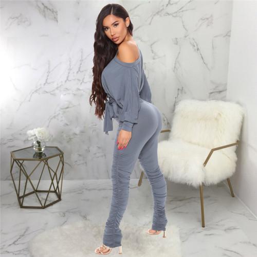 Gray Casual fashion women's pleated leg Jumpsuit