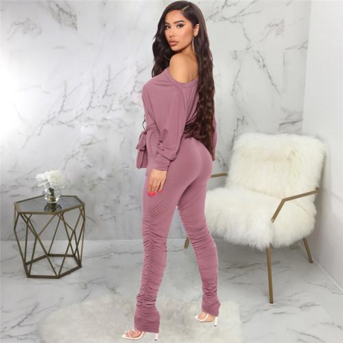 Dark Pink Casual fashion women's pleated leg Jumpsuit
