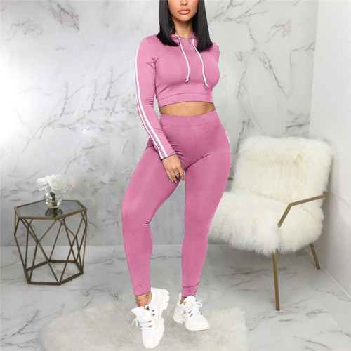 Pink Two piece leisure fashion sports suit