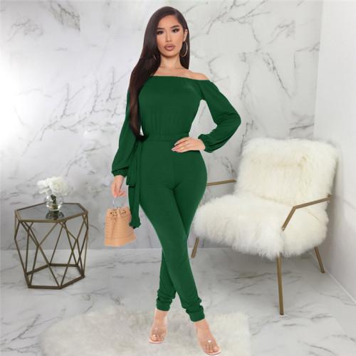 Dark Green Sexy fashion one neck bra Jumpsuit