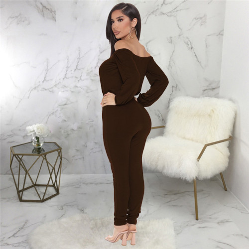 Brown Sexy fashion one neck bra Jumpsuit