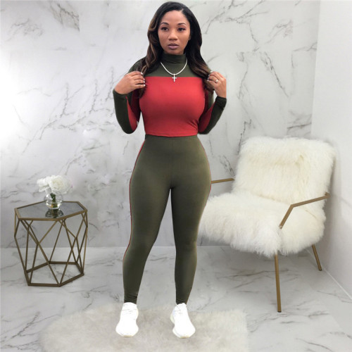 Olive Green Two piece leisure fashion sports suit