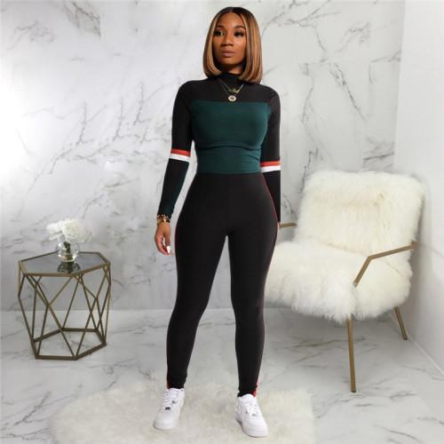 Black Two piece leisure fashion sports suit