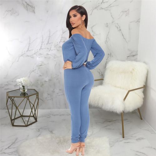 Blue Sexy fashion one neck bra Jumpsuit
