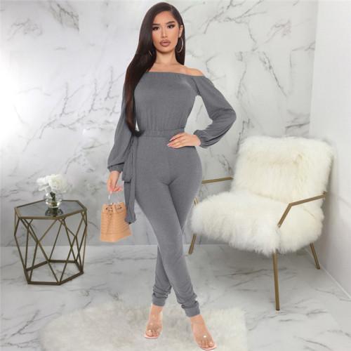 Gray Sexy fashion one neck bra Jumpsuit