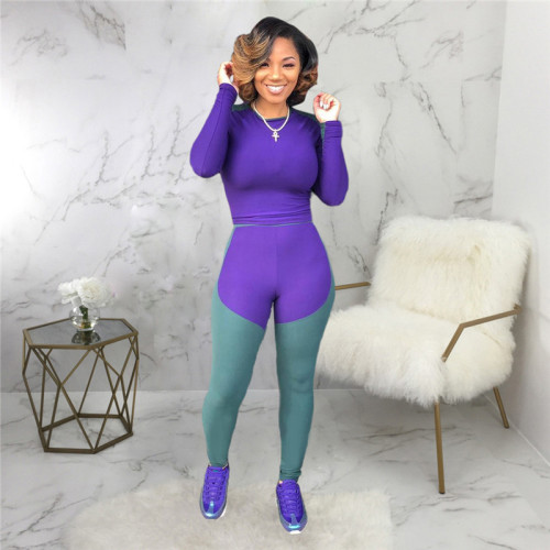 Purple Two piece leisure fashion sports suit