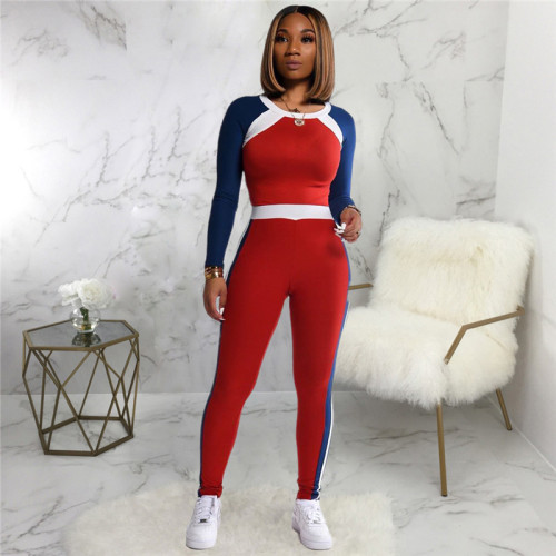 Red Two piece leisure fashion sports suit