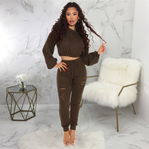 Black Casual and fashionable two piece solid color suit