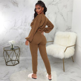 Brown Casual and fashionable two piece solid color suit