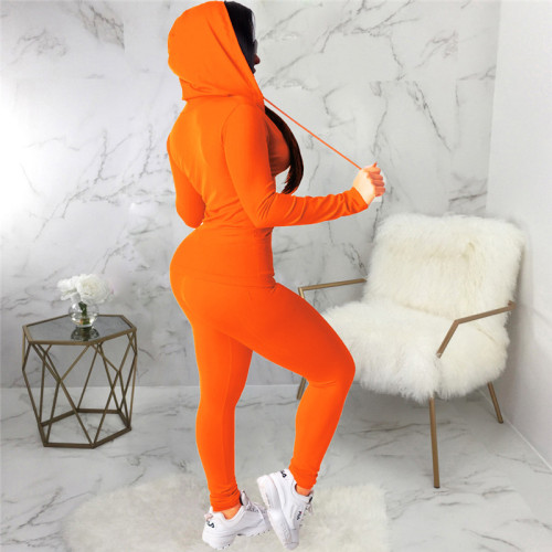 Orange Two piece leisure fashion hooded sports suit