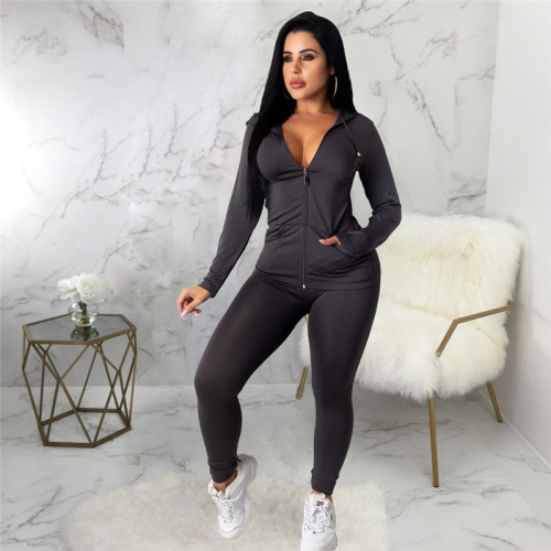 Black Two piece leisure fashion hooded sports suit
