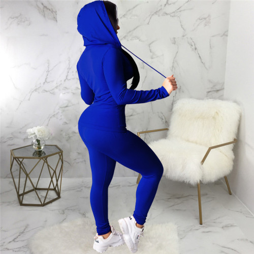 Blue Two piece leisure fashion hooded sports suit