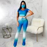 Blue Casual fashion women's super elastic gradient pleated one piece pants