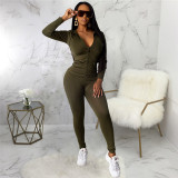 Olive Green Two piece leisure fashion hooded sports suit