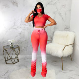 Rose Red Casual fashion women's super elastic gradient pleated one piece pants
