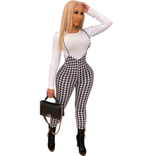 High-stretch printed slim sexy jumpsuit with suspenders