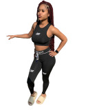 Bule Two-piece printed waist rope sports body sculpting set