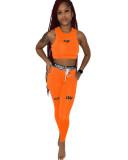 Orange Two-piece printed waist rope sports body sculpting set