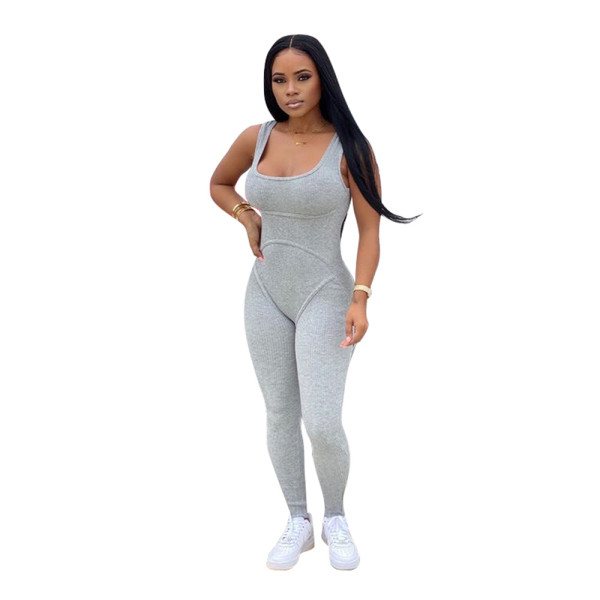 Gray Yellow Solid color knitted vest jumpsuit