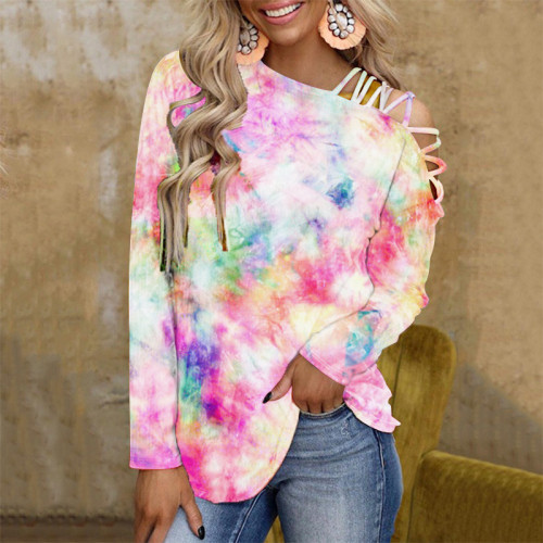 Tie-dye printed long-sleeved off-the-shoulder sexy casual loose T-shirt